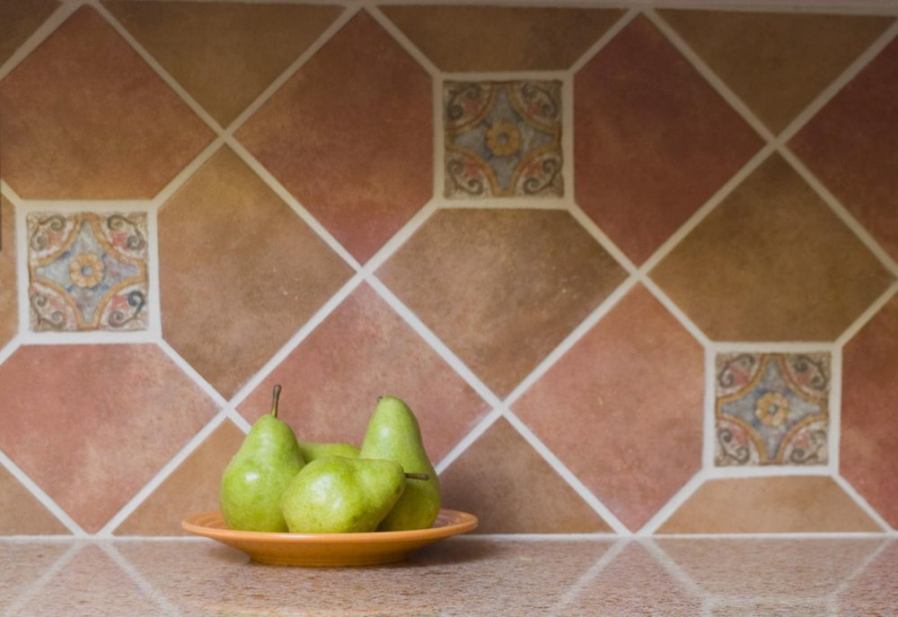 Terracotta backsplash tiles