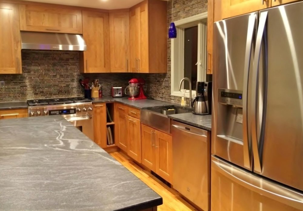 A honed granite countertop