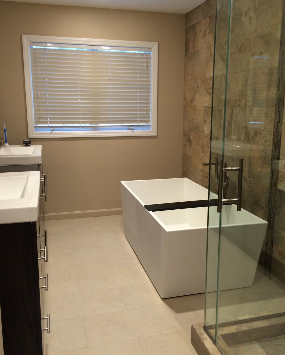 A modern master bath with Crafstman touches
