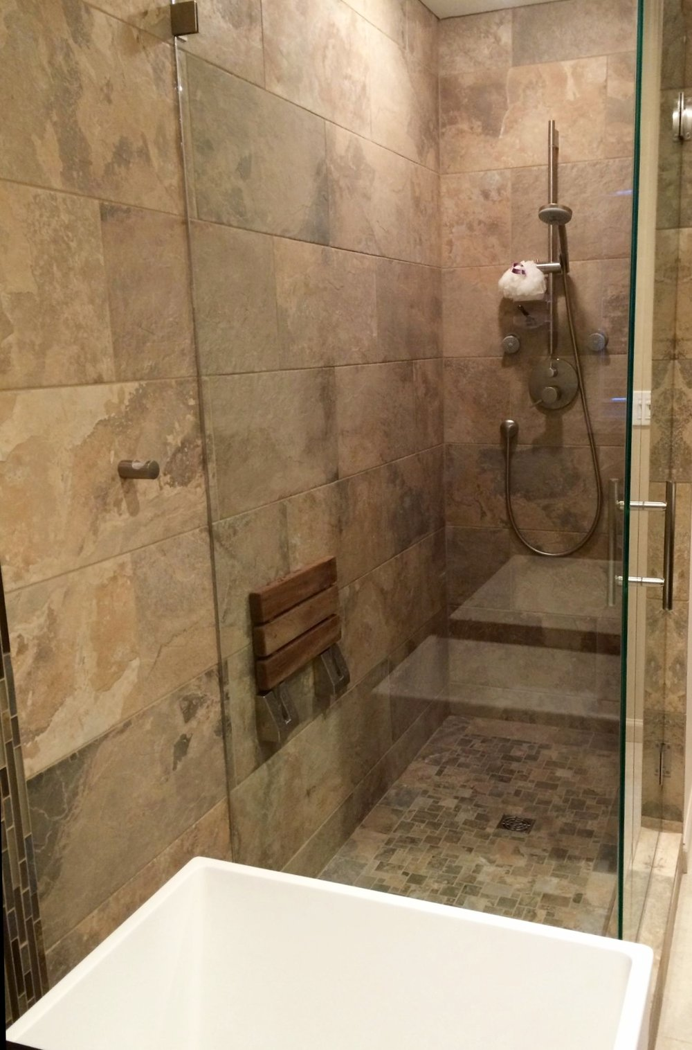 Glass enclosed master bath shower