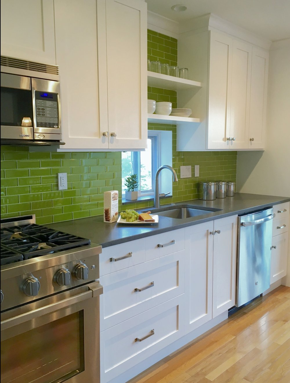 Lively Chartreuse Backsplash - Nyack NY