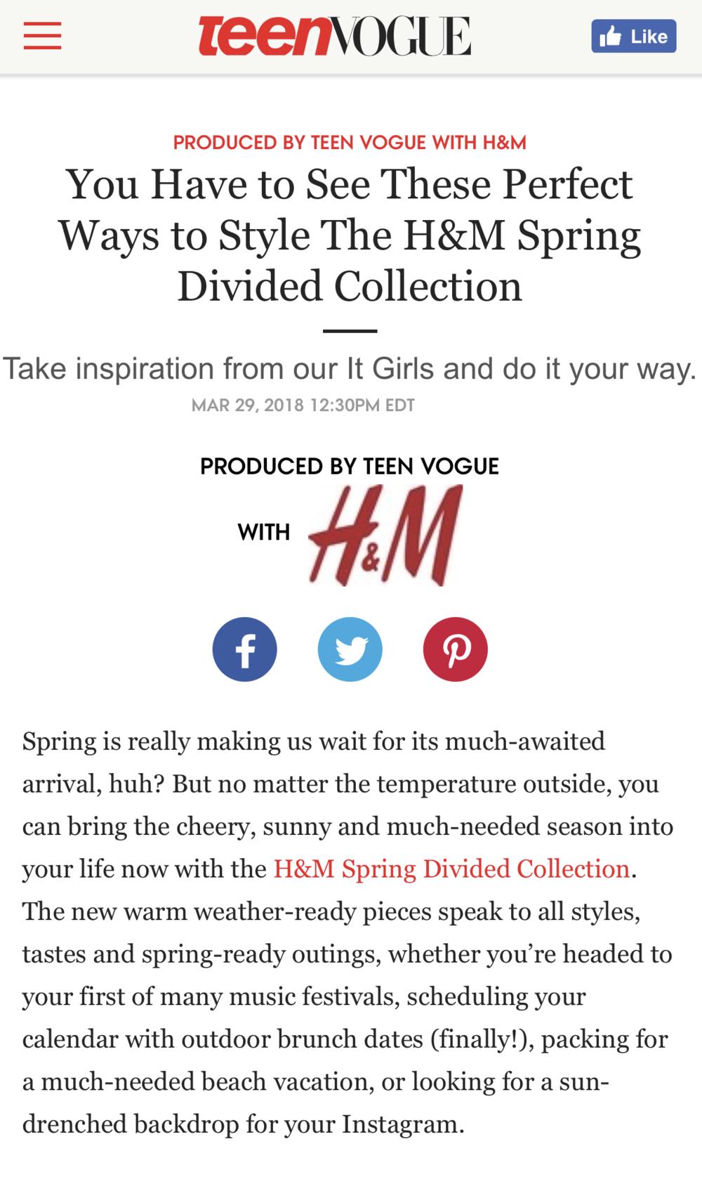 Teen Vogue x H&M \
