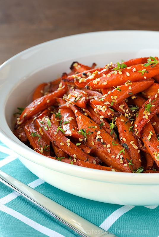 Mmm we love sticky & sweet.  This yummy  Honey Maple Roasted Carrot    dish is easy to put together and it's a definite crowd pleaser. You don't even have to tell your guests it's healthy!     Get this recipe from The Café