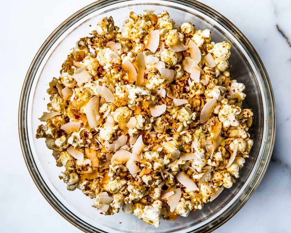 You'll be in love with this  CoCo Kettle Corn . Bring this twist on a class party appetizer to really get the party POPPIN'.       Get the recipe from Bon Appétit