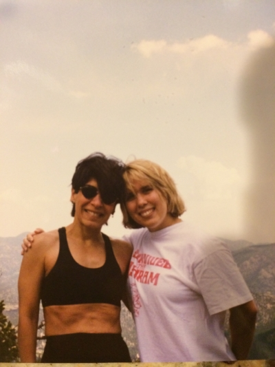 YASSS 90s hair. YAAASS abs! Magda with her oldest daughter, Katie, some time in the 90s.