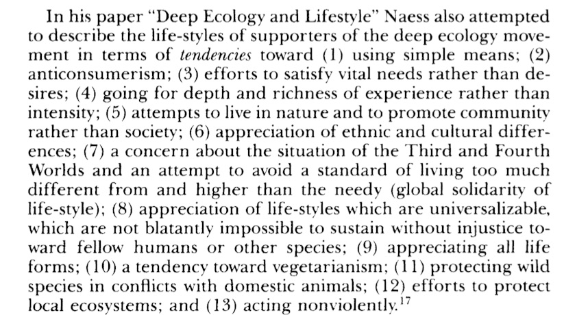 Deep Ecology & Lifestyle, Arne Naess (1984)