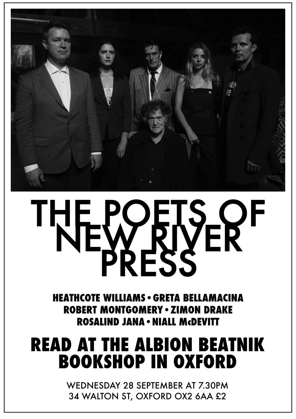New River Press poster, with Niall Mcdevitt, Rosalind Jana, Heathcote Williams, Zimon Drake, Robert Montgomery +Greta Bellamacina