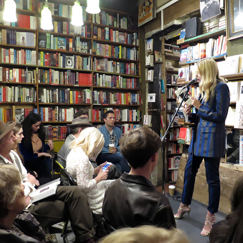 Greta performing in Paris at Shakespeare&Company.