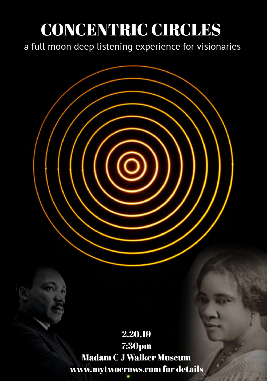 Concentric Circles - a full moon deep listening experiencefor visionariesa site-specific meditationWhat is this event? … sense into it, what do you hear?PRE-REGISTRATION IS REQUIRED 2.20.197:30-9:30PMat Madam C J Walker Museum 54 Hilliard St, Atlanta, GAConcentric Circles - circles with a common center - all moving around the same source, vinyl records, ripples from your embodied visionsOnly you can create your unique new-world gift. Please familiarize yourself with Madam C J Walker if you plan to attend and do not know who she is. Ricci de Forest, the current owner, welcomes us into the museum. We are grateful to him.In my experience, this is a sacred space, and I ask that participants keep that in mind.(Not solemn sacred, joyful sacred... yet Sacred...know what I'm saying?)The cost is 25$ 50% goes to the Madam C J Walker Museum.Please bring a mat or cushion to sit on, we will be sitting on the floor.This is NOT a Kundalini Yoga event.Pre-registration is required.To register please send 25$ toVenmo - narinder-bazenorPaypal - narinderbazen@gmail.com(include in your transaction the note)