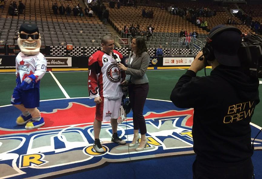 Post-game interviews with Toronto Rock forward Brett Hickey after scoring a hat trick.