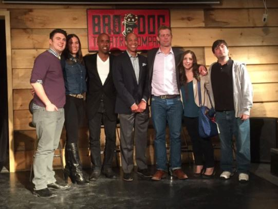 Sam Davis, Natalie Stoberman, Sherman Hamilton, Paul Jones, Michael Grange, Holly MacKenzie, and James Herbert pose for a photo at the end of the Hoop Talks Live show on Thursday, Feb. 26, 2015. (Photo courtesy of Derek Deonarain)