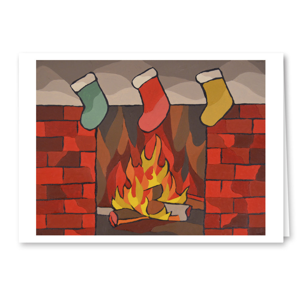 """Stockings Hung With Care"" 5x7 Blank Greeting Card"
