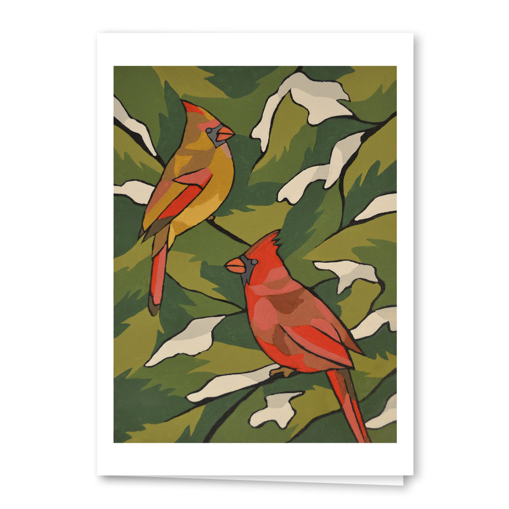 """Winter Cardinals"" 5x7 Blank Greeting Card"