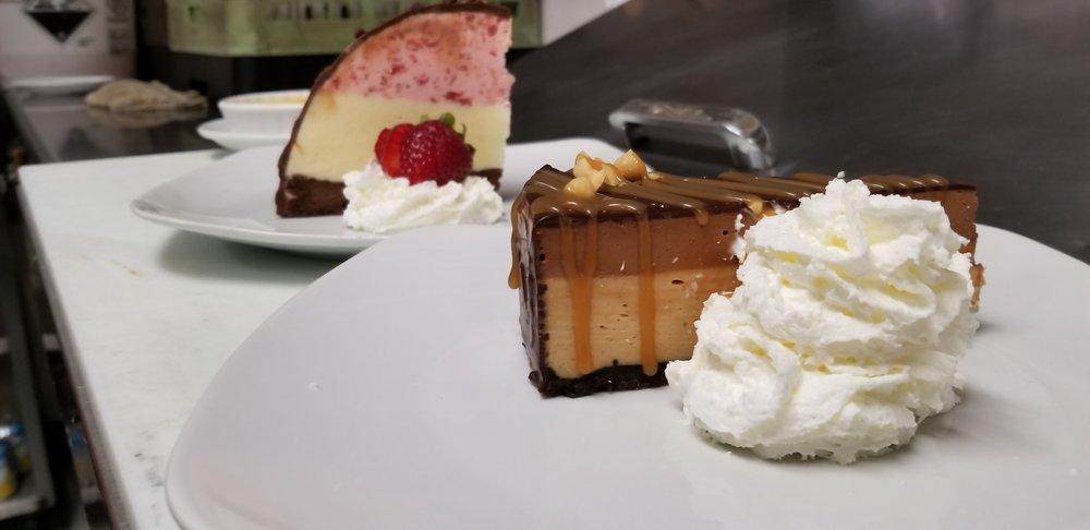 Dark Chocolate Peanut Butter Pie and Neapolitan ice cream bombe
