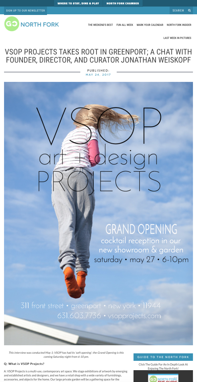 Go North Fork • May 24, 2017 • VSOP Projects Takes Root in Greenport - link to interview here