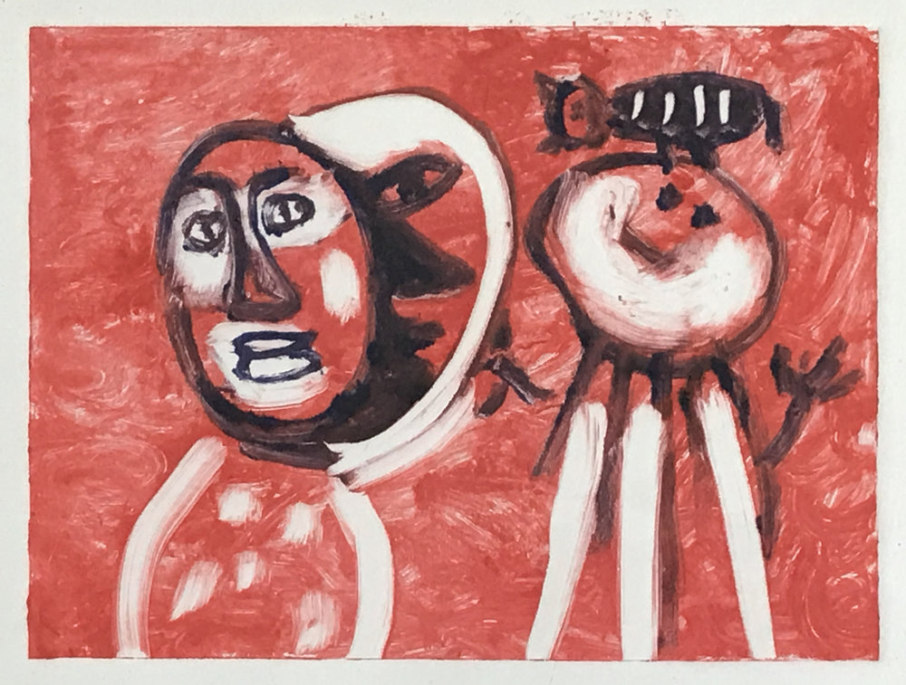 - They play together2017Monoprint9 x 12 inches