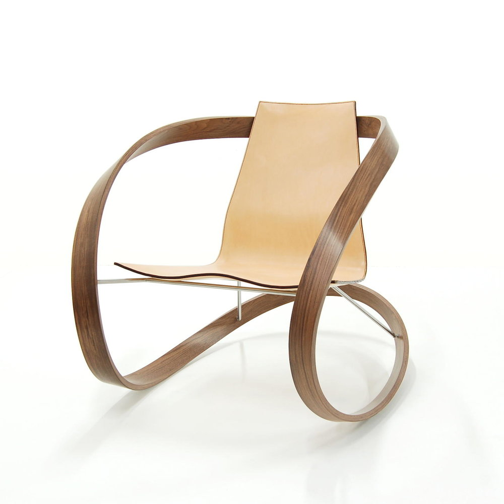 -  Ribbon Rocker2018Walnut, saddle leather, stainless steel33 x 31 x 44 inches