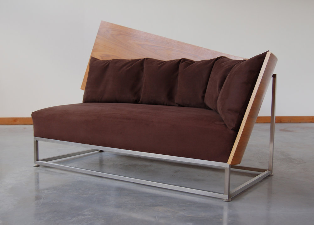 -  Curved-back Sofa2015American Walnut, stainless steel, upholstery42 x 77 x 33 inches