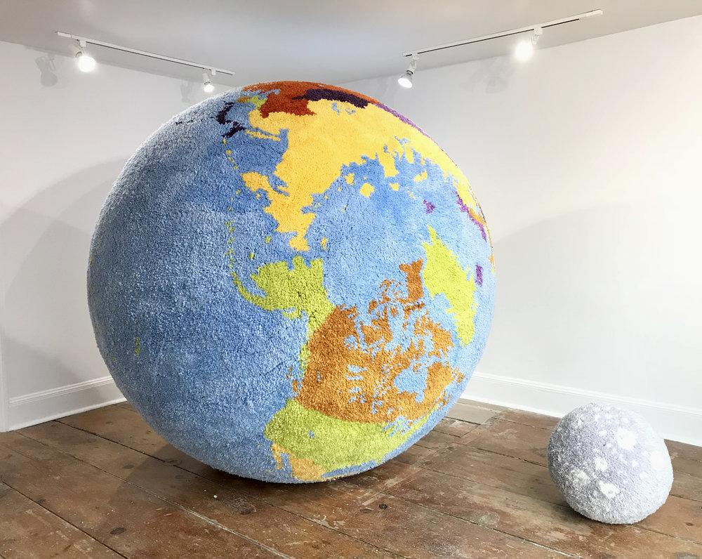 - Carpet World / Carpet Moon2010-2014Hand-latched wool72 inch diameter (globe)18 inch diameter (moon)