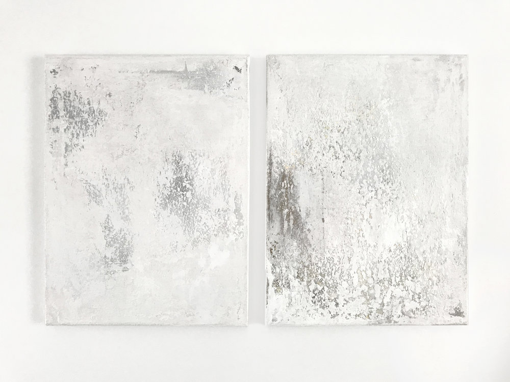 - Untitled (White Pair)Acrylic, concrete, iridescentpigment on canvas2 panels, 12 x 16 inches each