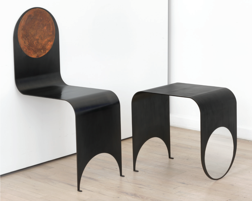 - Thin Chair & Table2017Steel with black oxide patinachair: 36 x 13 1/2 x 18 inchestable: 18 x 13 1/2 x 18 inches