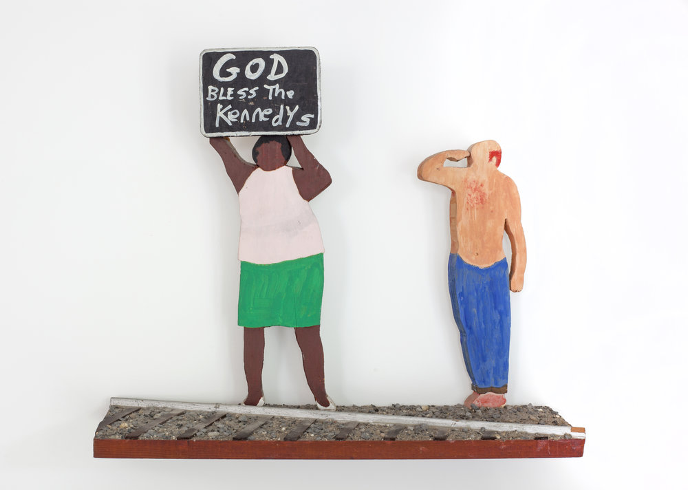 - God Bless The Kennedys(RFK Funeral Train)2008Wood and mixed media16 x 19 x 5 ½ inches