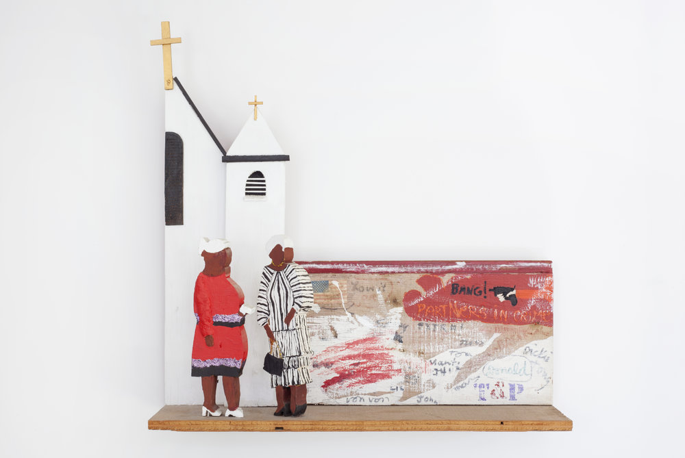 - Harlem Churchgoersc. 2004Wood and mixed media23 x 23 x 6 inches