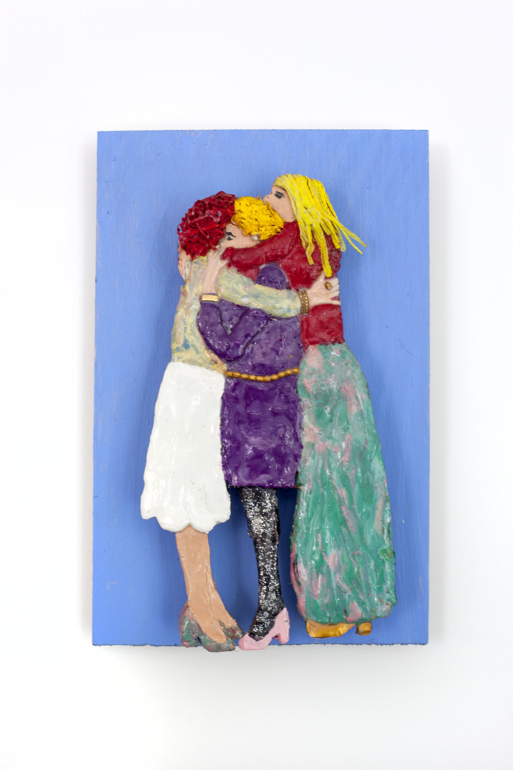 - Three Friendsc. 2014Modeling clay and mixed media on wood11 ½ x 7 ¼ x 2 ¼ inches