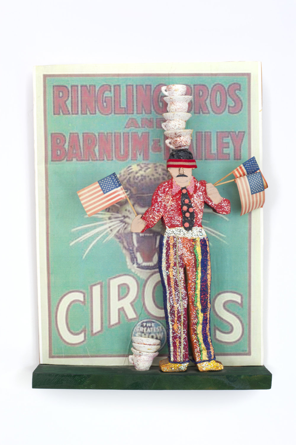 - Circus II (Teacup balancer)c. 2005Wood and mixed media15 ½ x 11 1/8 x 2 3/8 inches