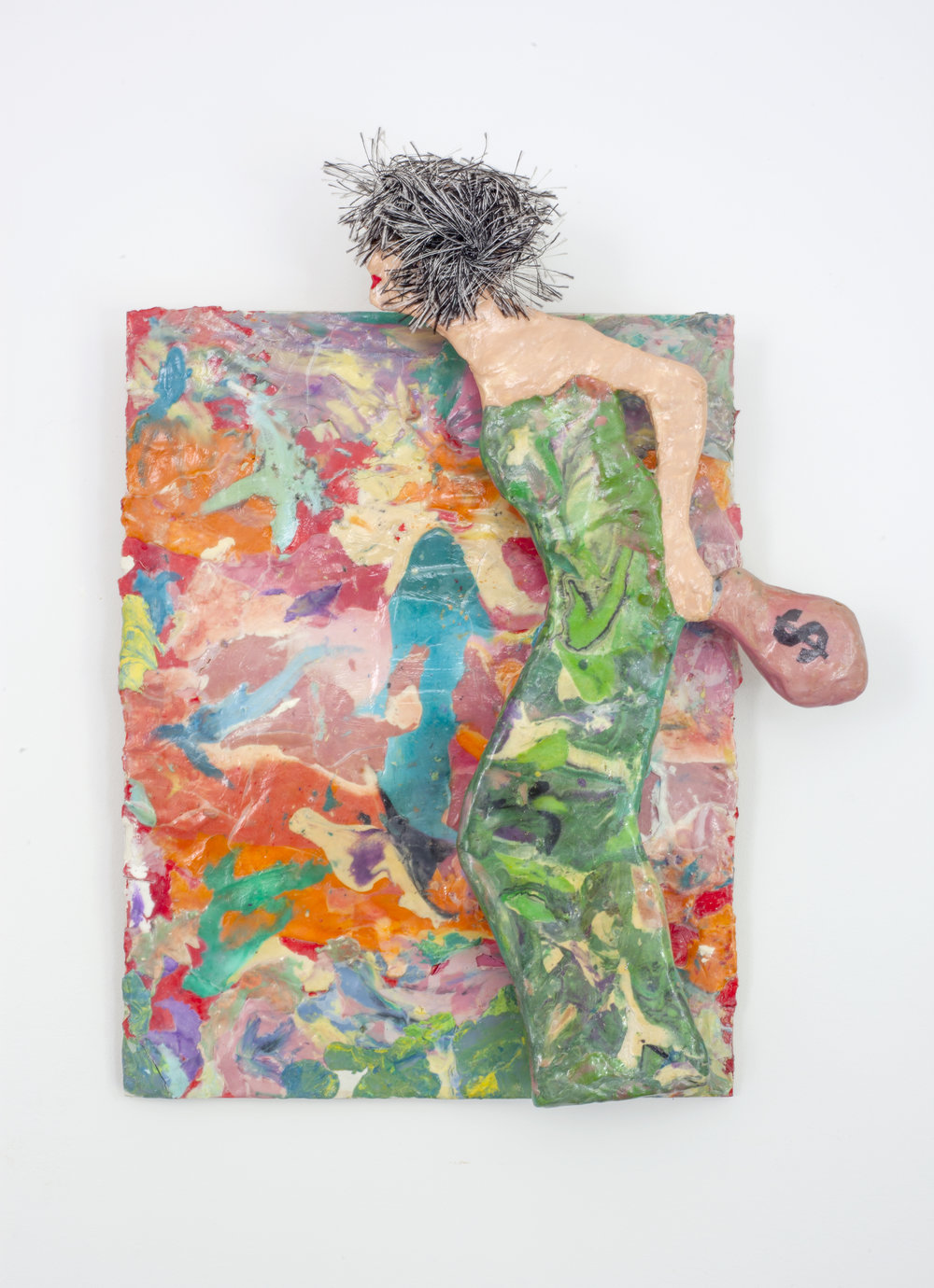 - Trophy Wifec. 2014Modeling clay and mixed media13 x 10 ¼ x 2 inches