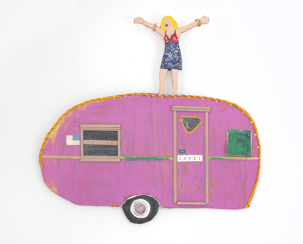 - Pink Caravan2001Wood and mixed media22 x 22 ¾ x 1 ½ inches