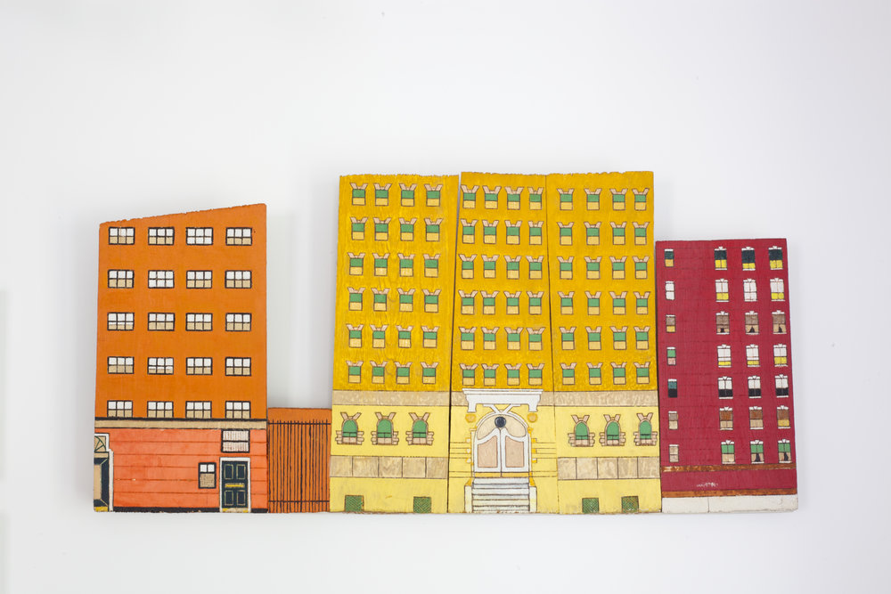 - Untitled (City Facades)c. 2009Wood and paint15 ¾ x 33 x 2 inches