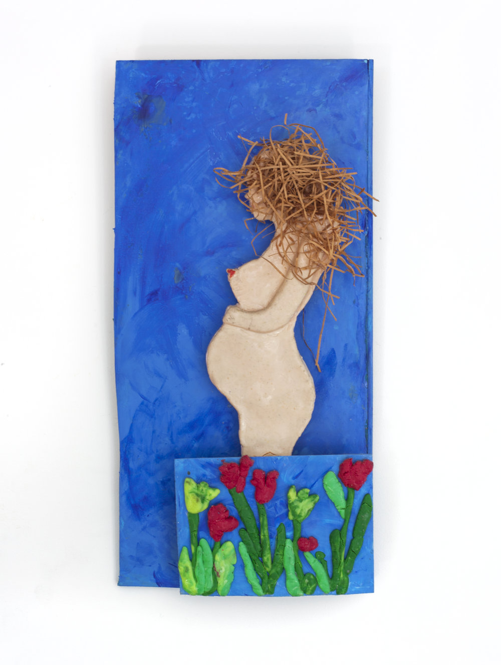 - Blue Nude (with Flowers)c. 2015Modeling clay and mixed media14 x 6 ¾ x 1 ¼ inches