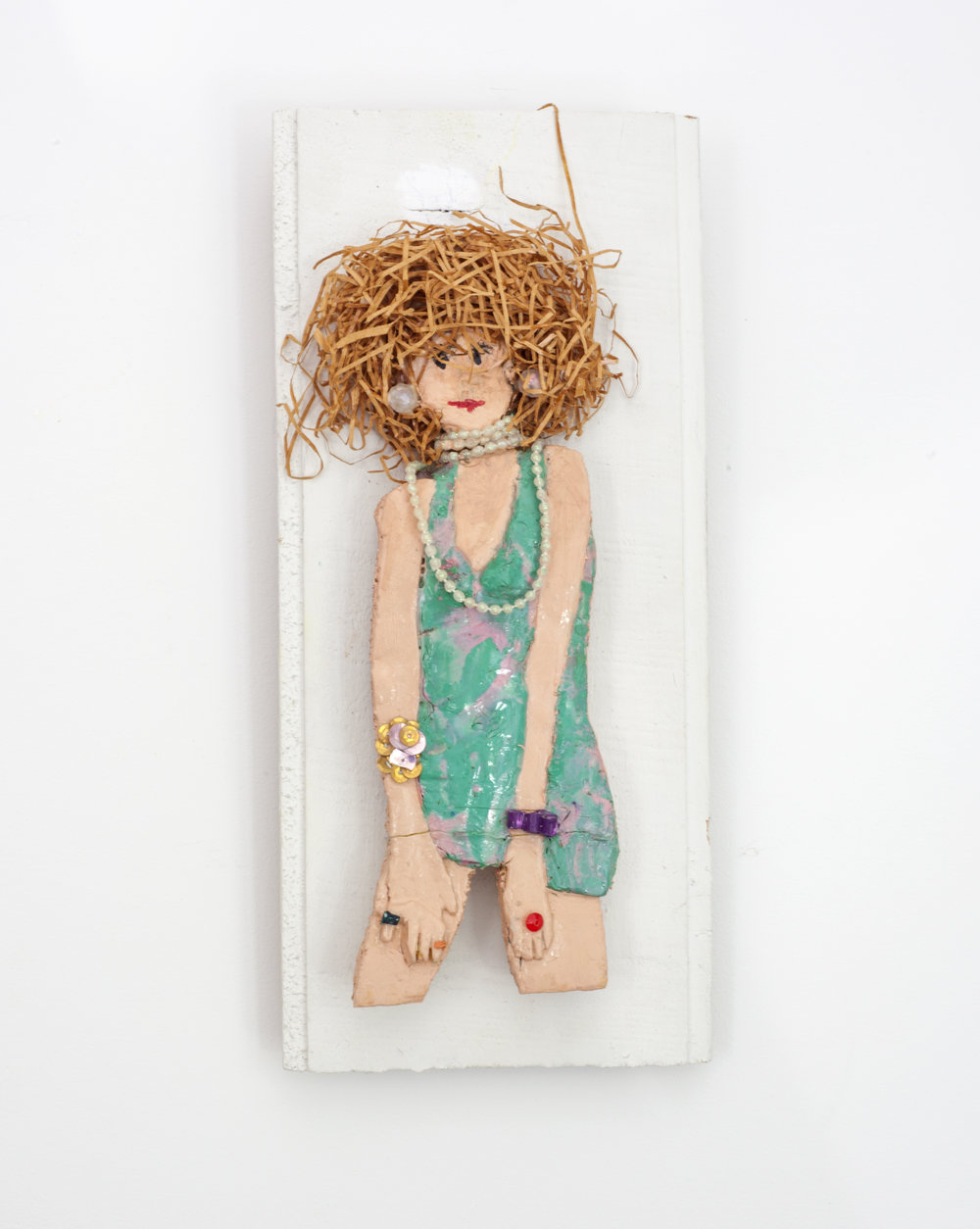 - Woman with Pearl Necklacec. 2012Mixed media on wood panel11 ¾ x 5 ¾ x 2 inches