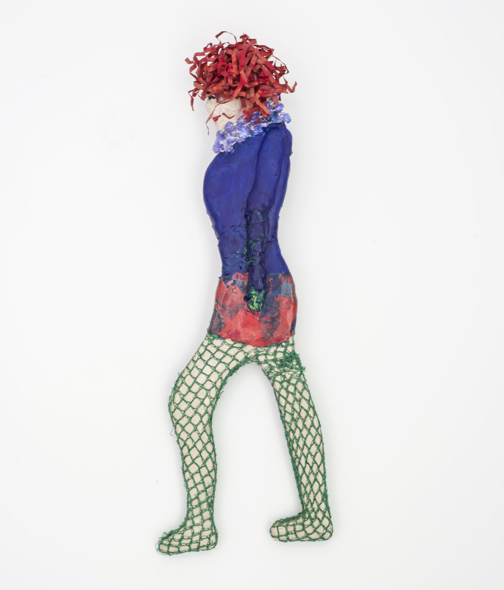 - Redhead in Fishnetsc. 2013Wood, modeling clay, and mixed media14 x 4 x ½ inches