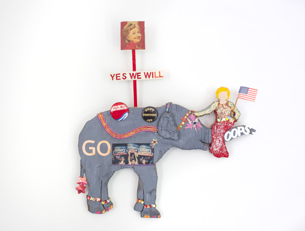 - Yes We WillModeling clay and mixed media on wood16 x 17 x 1 ¼ inches