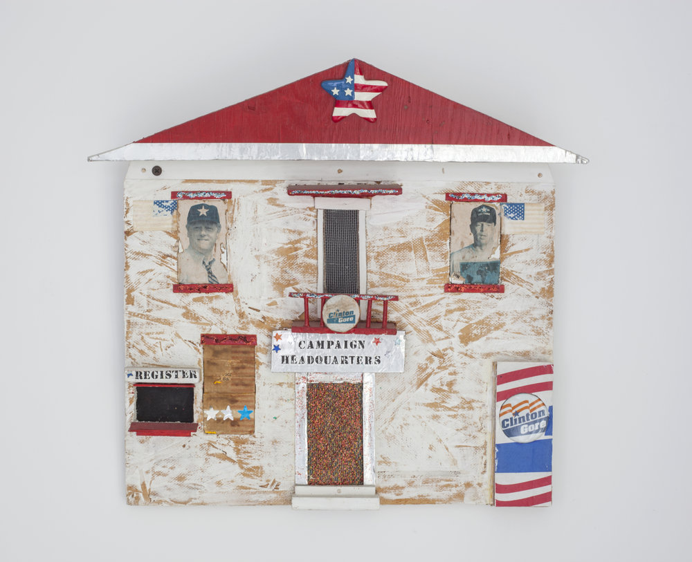 - Campaign Headquartersc. 2000Wood and mixed media15 x 16 x 2 inches