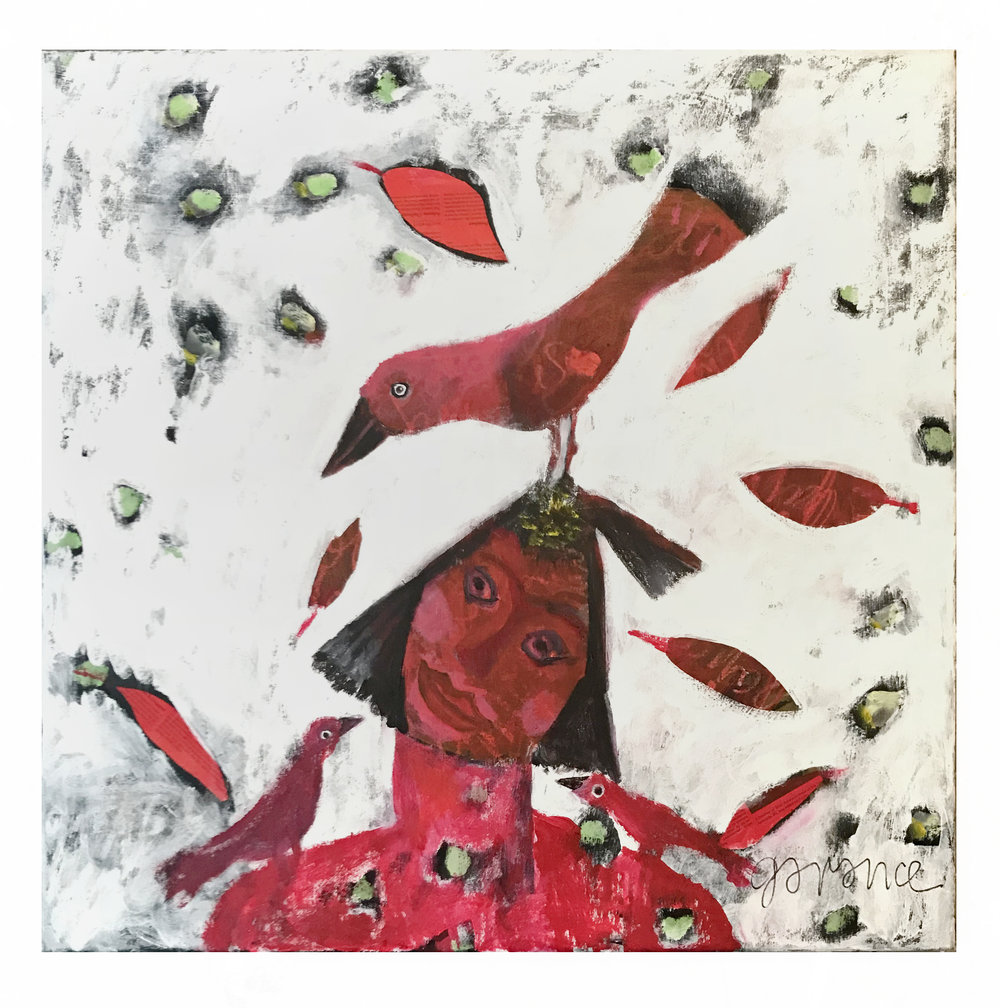 - She's red in the face…2018Acrylic on canvas30 x 30 inches
