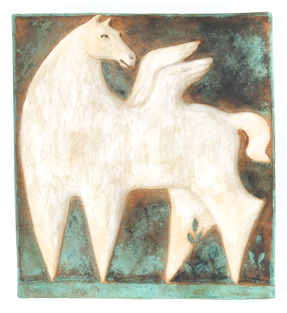 - Margaret WozniakPegasus Wall Tile2012Glazed stoneware17 x 16 x 2 inches