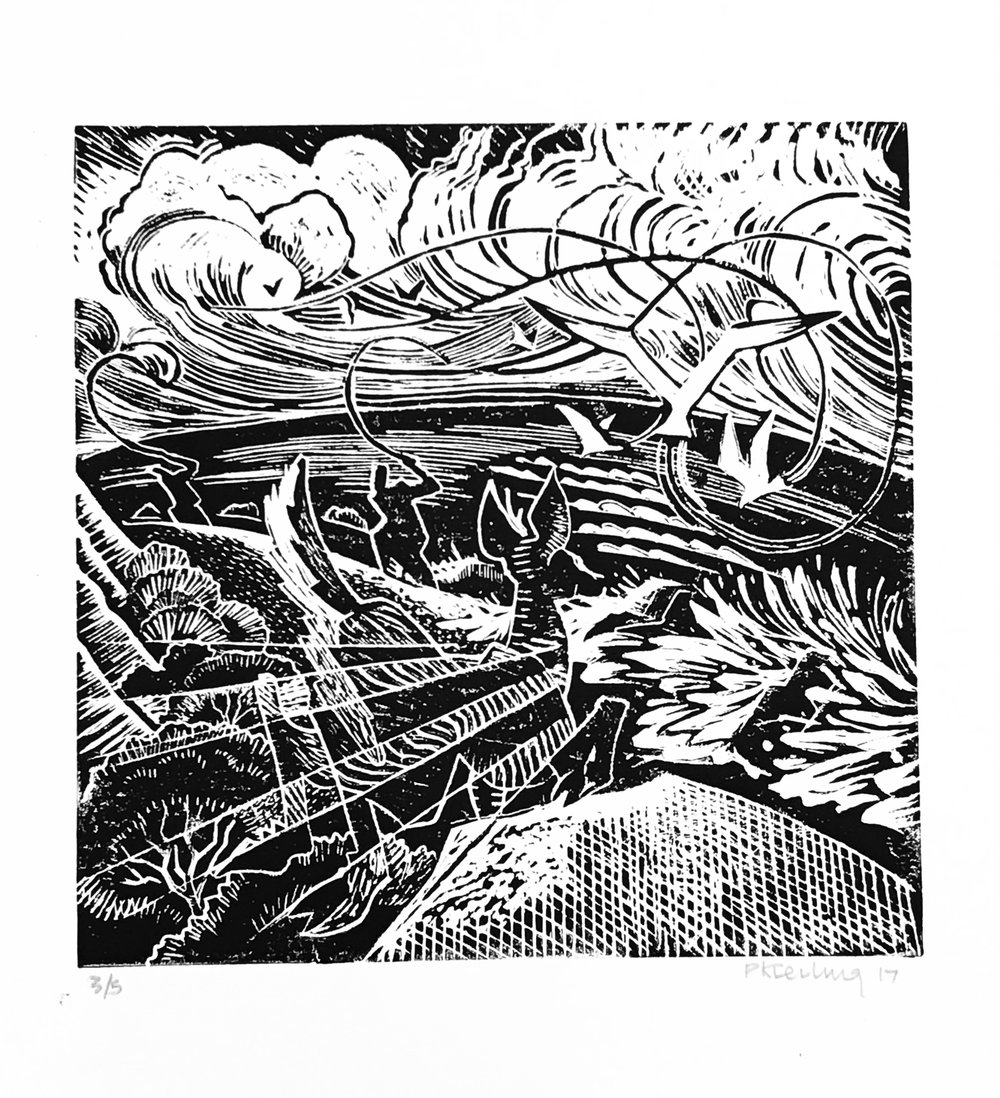 - Paul KreilingFall Run2017Linoleum block printedition of 512 x 12 inches