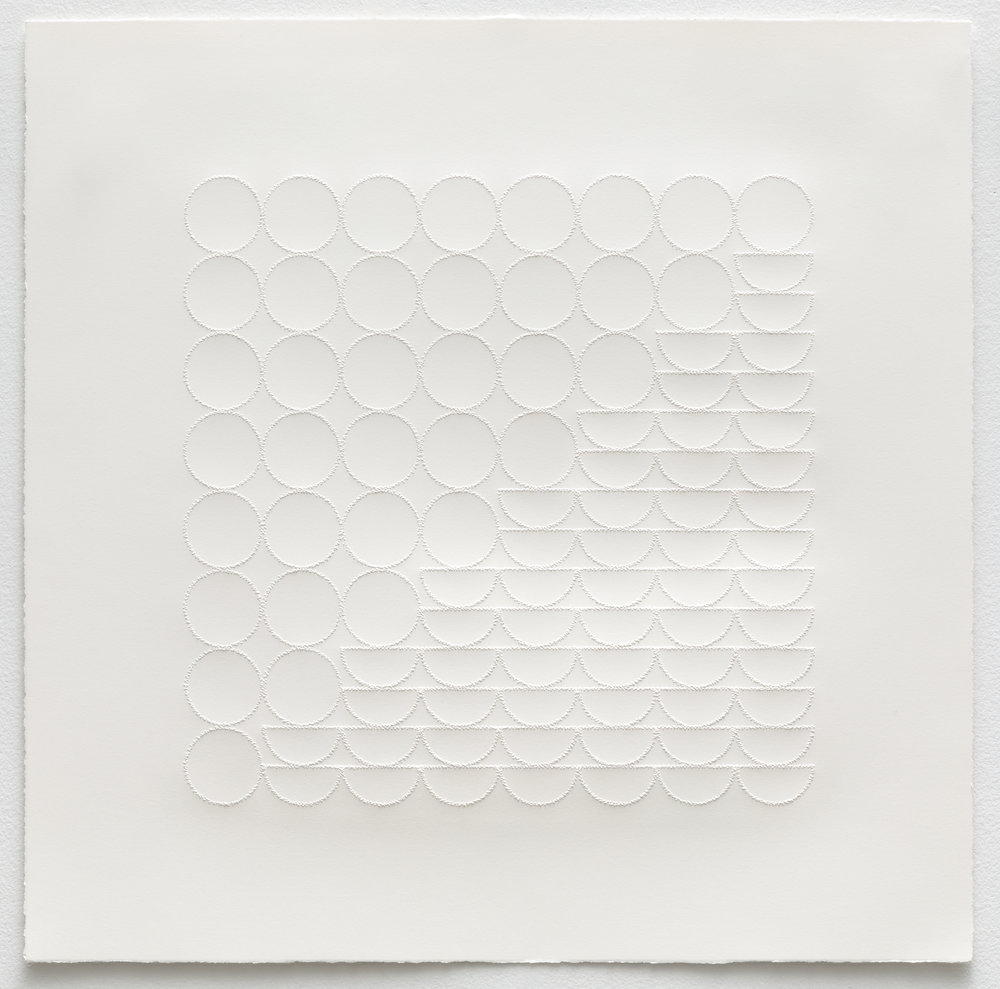 - Grid Relief Study I2018Pinpricks on paper18 x 18 inches