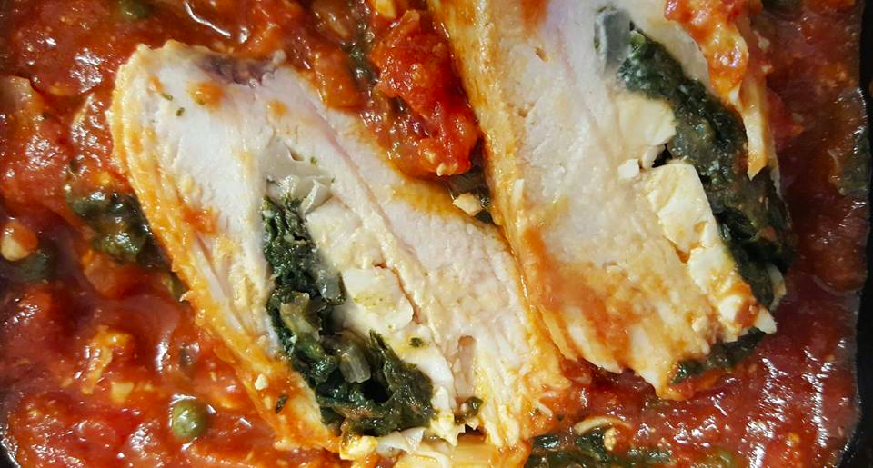 Spinach-stuffed Chicken Breast in Tomato Sauce