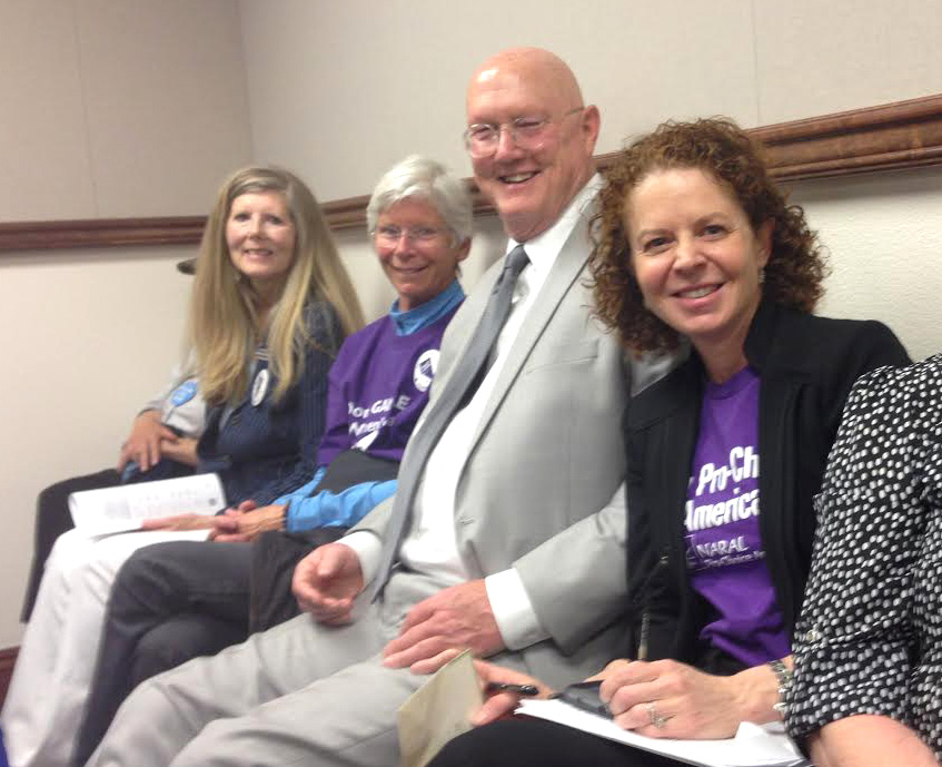 NT Dems Pam Straley, Steve Dolan and Vivian Leal waiting to testify at the Senate Hearing on AB249 in support of affordable and accessible contraception.