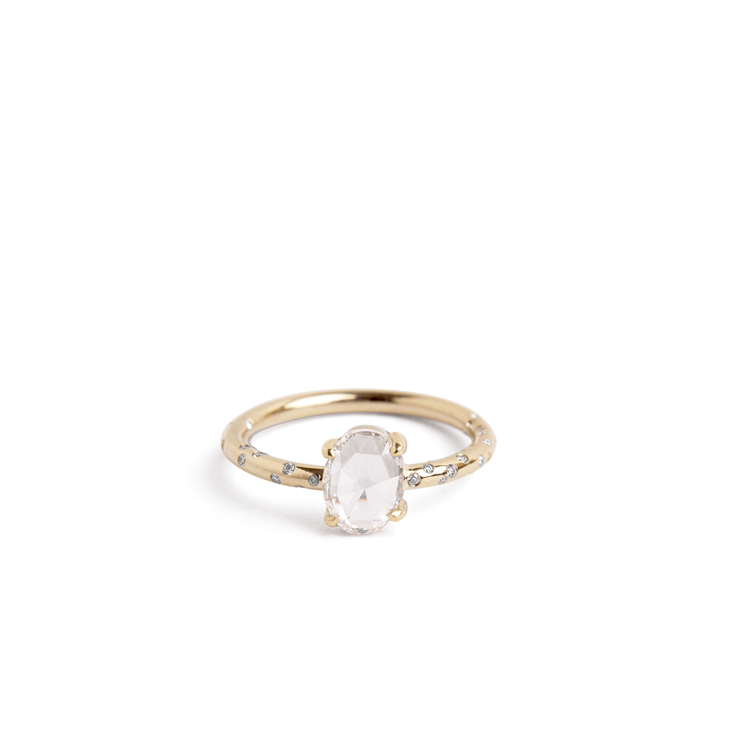 Dew Drop Yellow Gold Oval Rose Cut Diamond Solitaire Ring: Drop Oval Wedding Ring At Websimilar.org