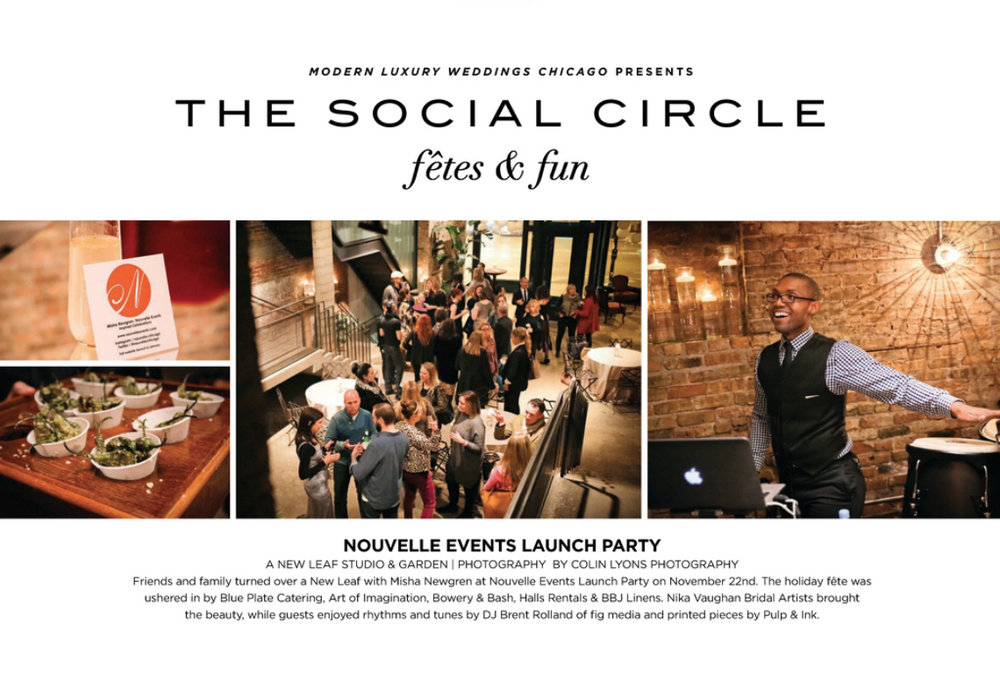 NOUVELLE EVENTS LAUNCH PARTY FEATURED IN  MODERN LUXURY WEDDINGS CHICAGO
