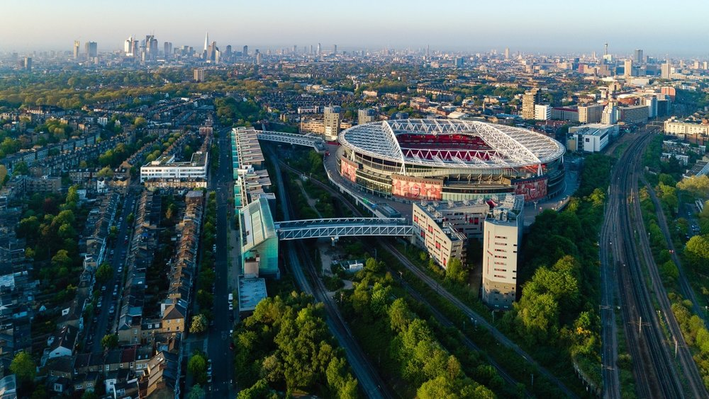 Arsenal Emirates Stadium and London City Skyline by Drone Photographer OD Hunte ©2018 Hunte Aerial