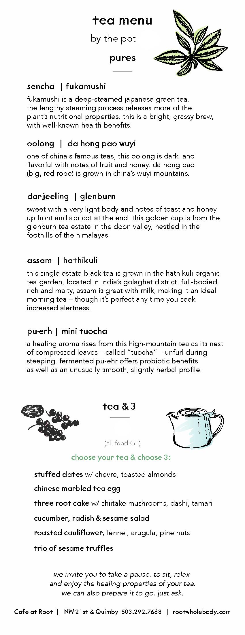 Root Cafe - Tea Menu - Side 1