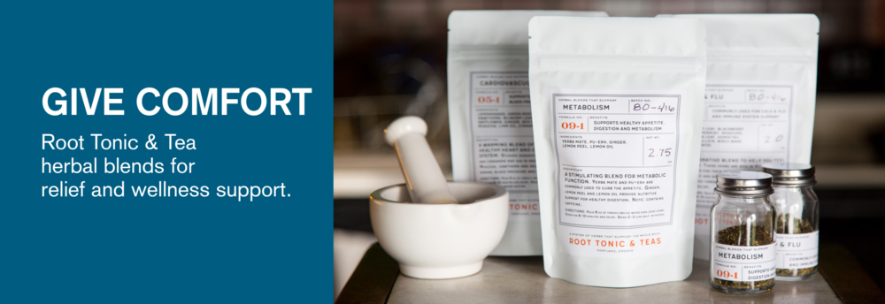 Root Tonic & Tea , a system of herbal tea blends formulated for deliciousness and effectiveness, to provide relief and support to every bodily system. For a limited time, buy 3 bags and get the 4th free. Sip. Share. Repeat.