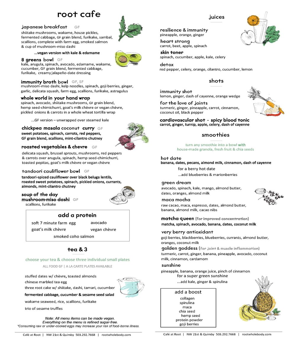 Root Cafe Menu Root Whole Body Whole Body Health Natural