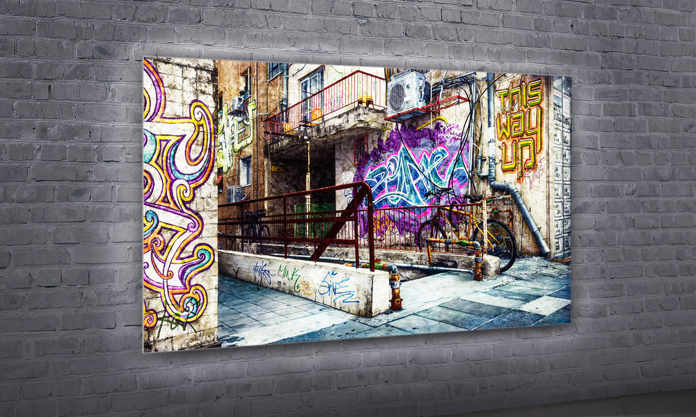 "this way up  40"" x 72"" SOLD  Plexiglass with black & white photograph, digitally created graffiti and acrylic paint applied to the reverse side. Backlit by custom LED panel with remote control and dimmer."